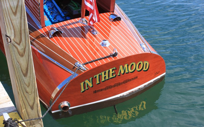 """In The Mood"" 1941 19' Chris Craft Custom retains all of its original sides and deck planking Tom & Susan Parsons Charlevoix, Michigan2"