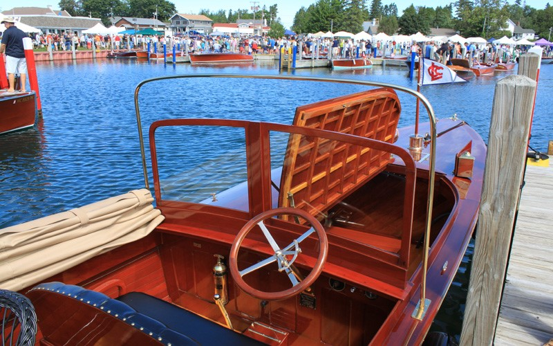 "Former Best of Show winner and 2017 winner Best Launch the 1917 33' Consolidated Speedway launch ""Chief Mackinac"" John & Becky Allen Gull Lake, Minnesota"