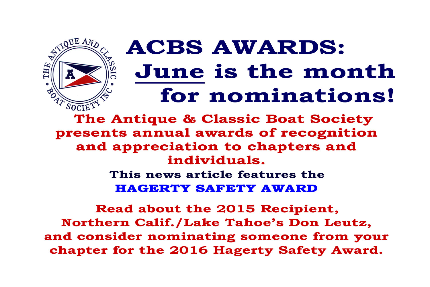 2015 Hagerty Safety Award - ACBS - Antique Boats & Classic Boats ...