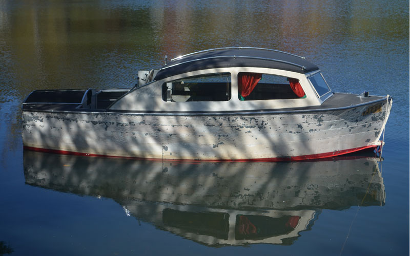 Rare Cabin Cruiser With Built In Trailer Acbs Antique