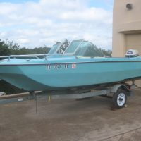 1968 Invader Batwing w/original 1968 Evinrude Big Twin 40hp Motor. Original King Trailer.